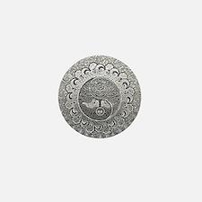 Shiny Metallic Tree of Life Yin Yang Mini Button