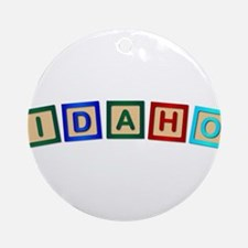 Idaho Wooden Block Letters Round Ornament