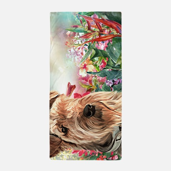 Airedale Painting Beach Towel