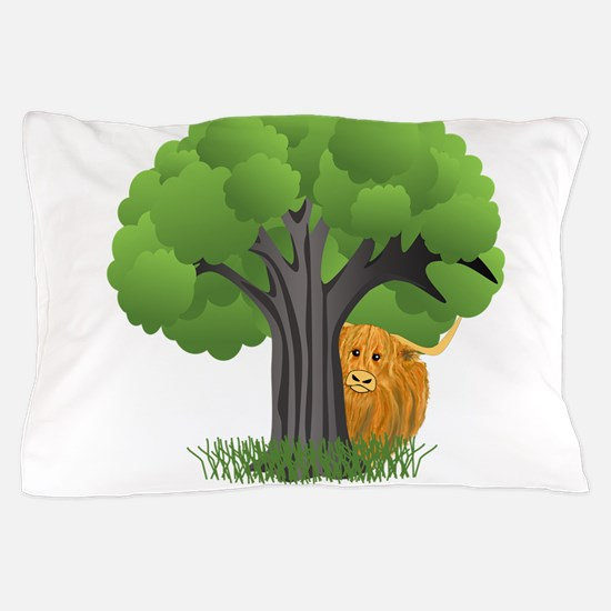Woolly Moo behind tree Pillow Case