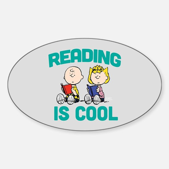 Charlie & Sally Brown-Reading is Co Sticker (Oval)