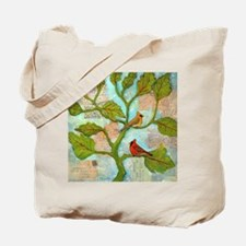 Cardinal Birds Love Notes Tote Bag