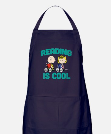 Charlie & Sally Brown-Reading is Cool Apron (dark)