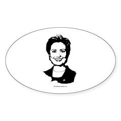 Hillary Clinton Face Oval Decal