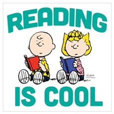 Charlie & Sally Brown-Reading is Cool Wall Art Framed Print