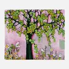 Cute Pink Tree with Birds Throw Blanket