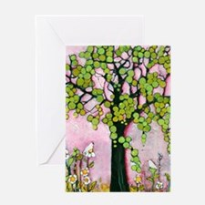 Cute Pink Tree with Birds Greeting Cards