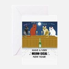 Meow-sical New Year Greeting Card