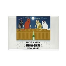 Meow-sical New Year Rectangle Magnet