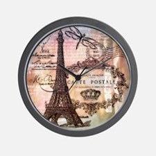 Eiffel tower collage Wall Clock