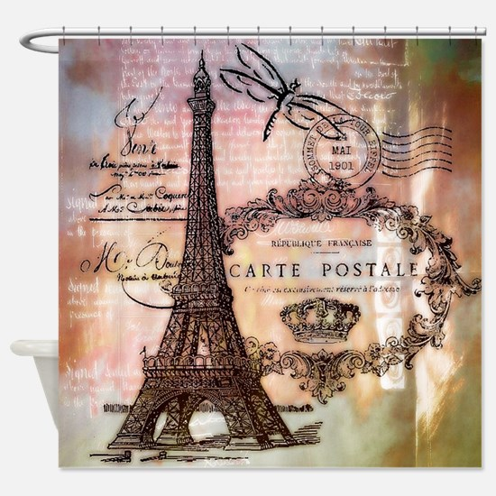 Eiffel tower collage Shower Curtain