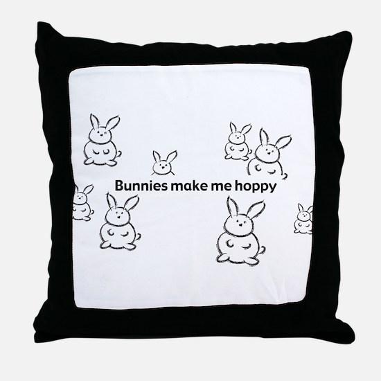 Bunnies Make Me Hoppy Throw Pillow