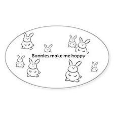 Bunnies Make Me Hoppy Oval Decal