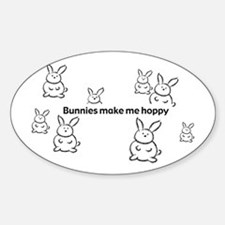 Bunnies Make Me Hoppy Oval Decal