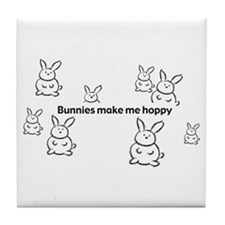 Bunnies Make Me Hoppy Tile Coaster