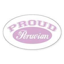 Proud Peruvian (pink) Oval Decal