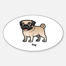 Funny Pug breed Sticker (Oval)