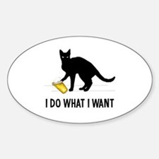 Funny Humorous cat Sticker (Oval)