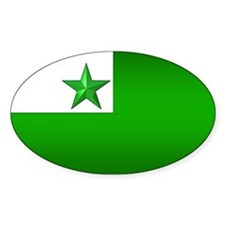 Esperanto Flag Jewel Oval Decal