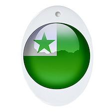 Esperanto Flag Jewel Oval Ornament