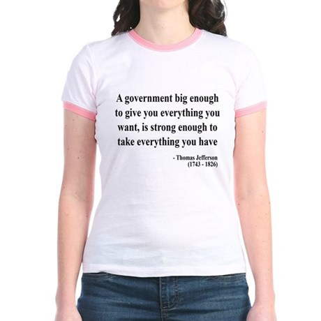 Thomas Jefferson Text 1 Jr. Ringer T-Shirt