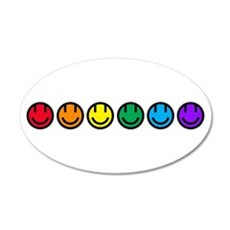 pride rainbow faces row Wall Decal
