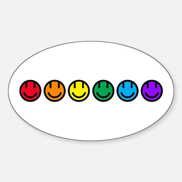 pride rainbow faces row Decal