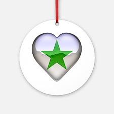 Verda Stelo Heart Ornament (Round)