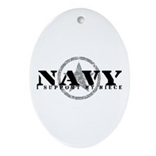 Navy - I Support My Niece Oval Ornament
