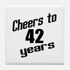 Cheers To 42 Years Tile Coaster