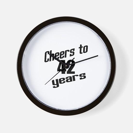 Cheers To 42 Years Wall Clock