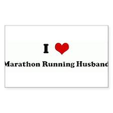 I Love Marathon Running Husba Sticker (Rectangular