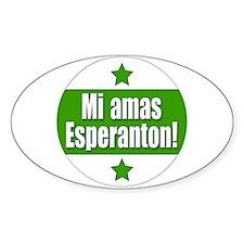 Mi Amas Esperanton Oval Decal