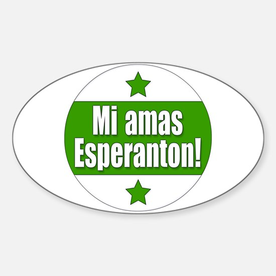Mi Amas Esperanton Oval Decal