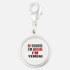 Of Course I Am Yemeni Silver Round Charm