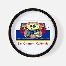 San Clemente CA Flag Wall Clock