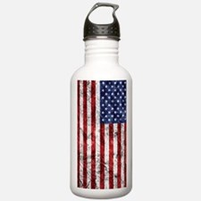 Grunge American Flag Water Bottle