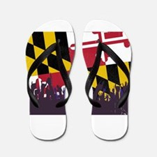 Maryland State Flag with Audience Flip Flops