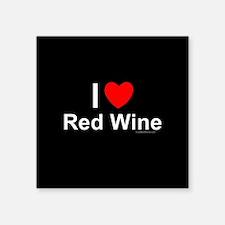 "Red Wine Square Sticker 3"" x 3"""