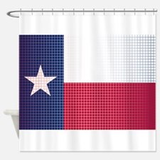 Texas State Doted Flag Shower Curtain