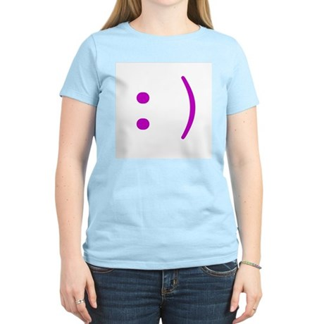 Smiley Emoticon Women's Pink T-Shirt