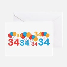 34 years old - 34th Birthday Greeting Cards