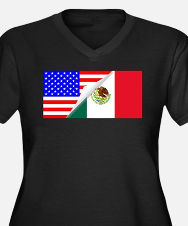 United States and Mexico Flags C Plus Size T-Shirt