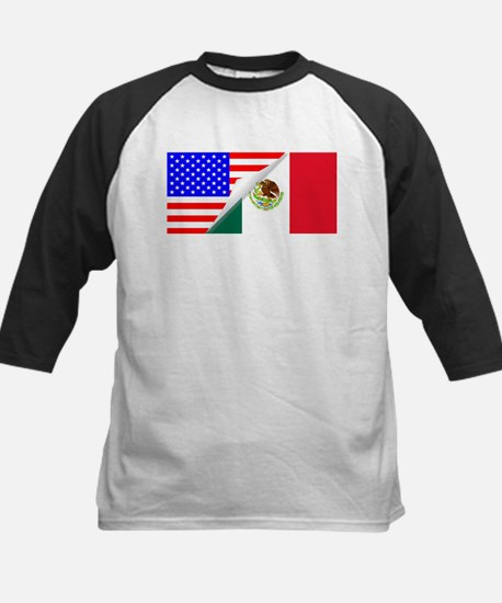 United States and Mexico Flags Com Baseball Jersey
