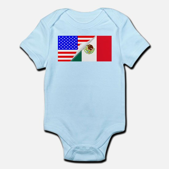United States and Mexico Flags Combined Body Suit