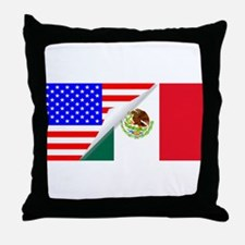 United States and Mexico Flags Combin Throw Pillow