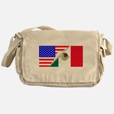 United States and Mexico Flags Combi Messenger Bag