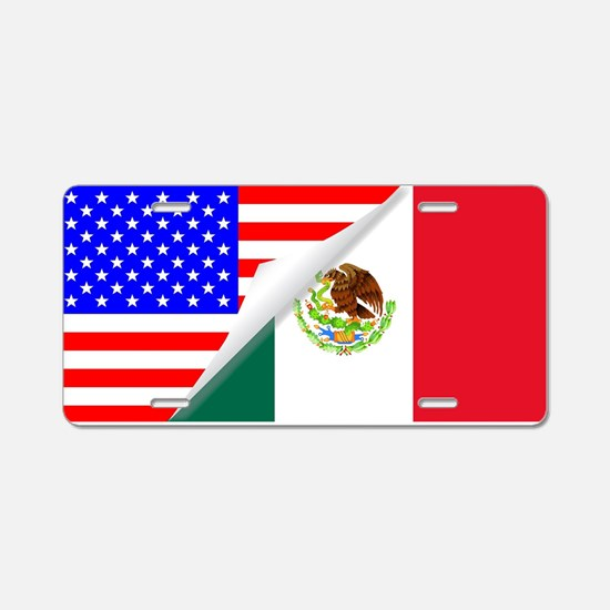 United States and Mexico Fl Aluminum License Plate
