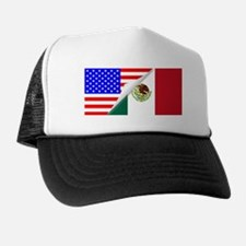 United States and Mexico Flags Combine Trucker Hat