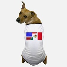 United States and Mexico Flags Combine Dog T-Shirt
